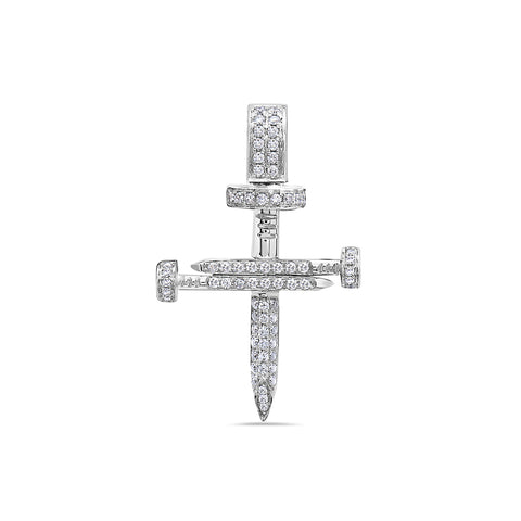 Unisex 14K White Gold Cross of Nails Pendant with 0.40 CT Diamonds