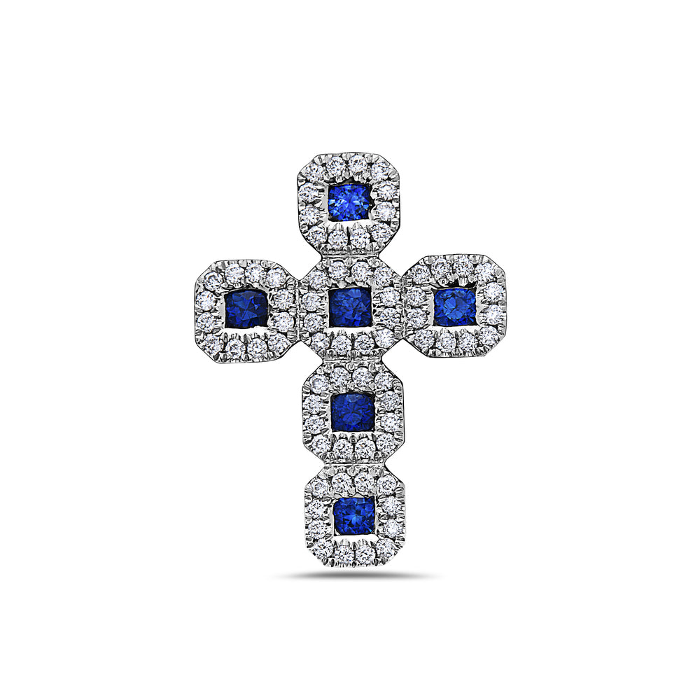 18K White Gold Cross Women's Pendant With 0.43 CT Diamonds available in Blue & Green