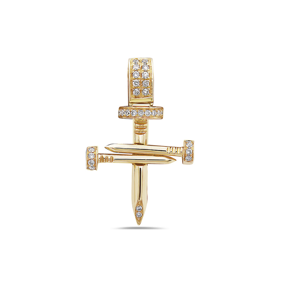 Men's 14K Yellow Gold Cross of Nails Pendant with 0.16 CT Diamonds