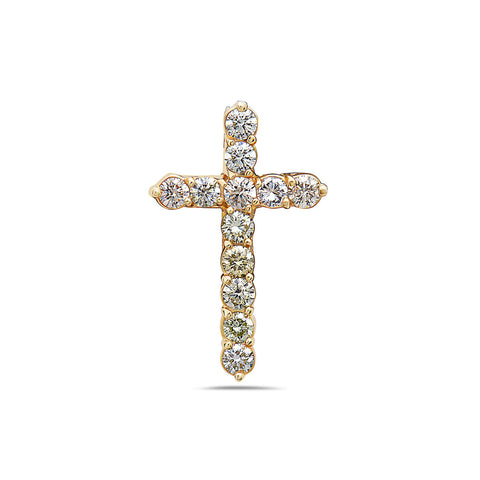14K Yellow Gold Cross Pendant with 2.50 CT Diamonds