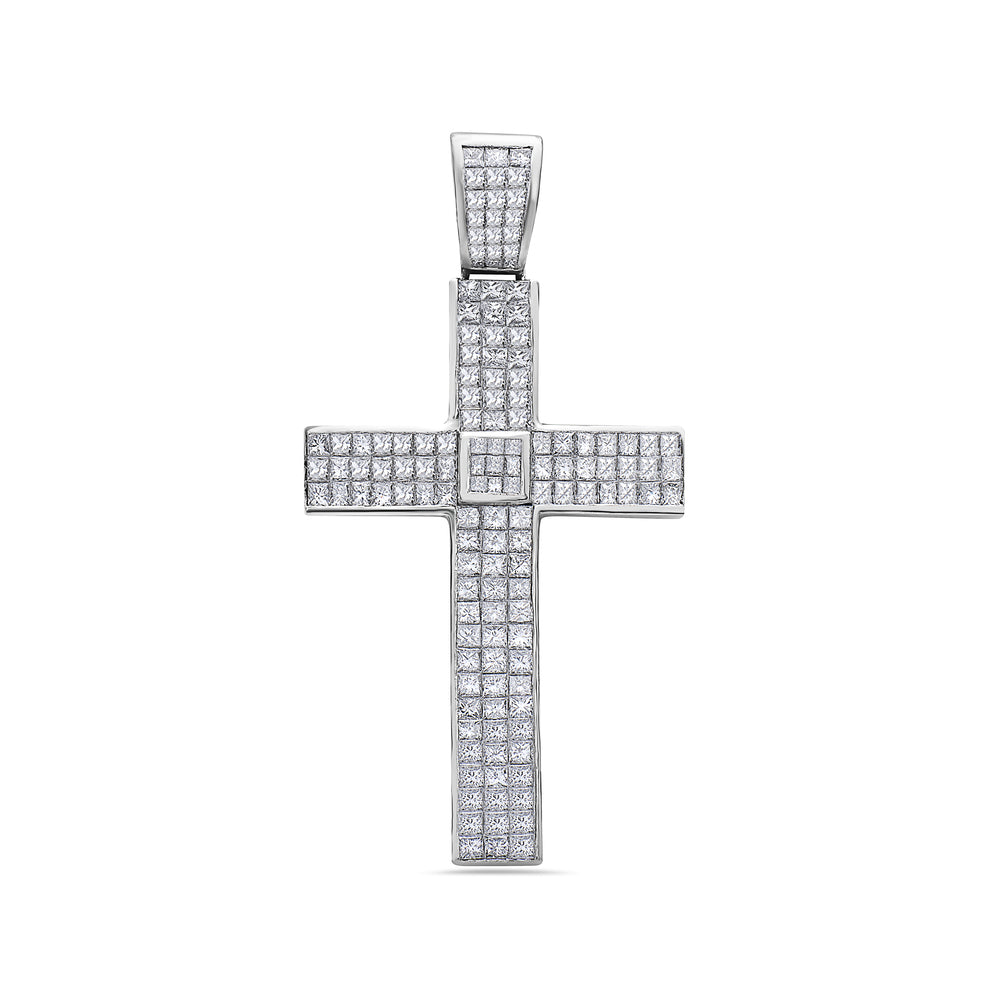Platinum Cross Pendant with 19.50 CT Diamonds