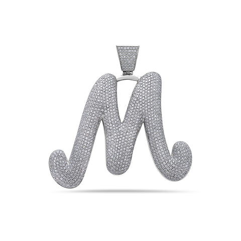 Men's 14K White Gold 'M' Pendant with 14.00 CT Diamonds