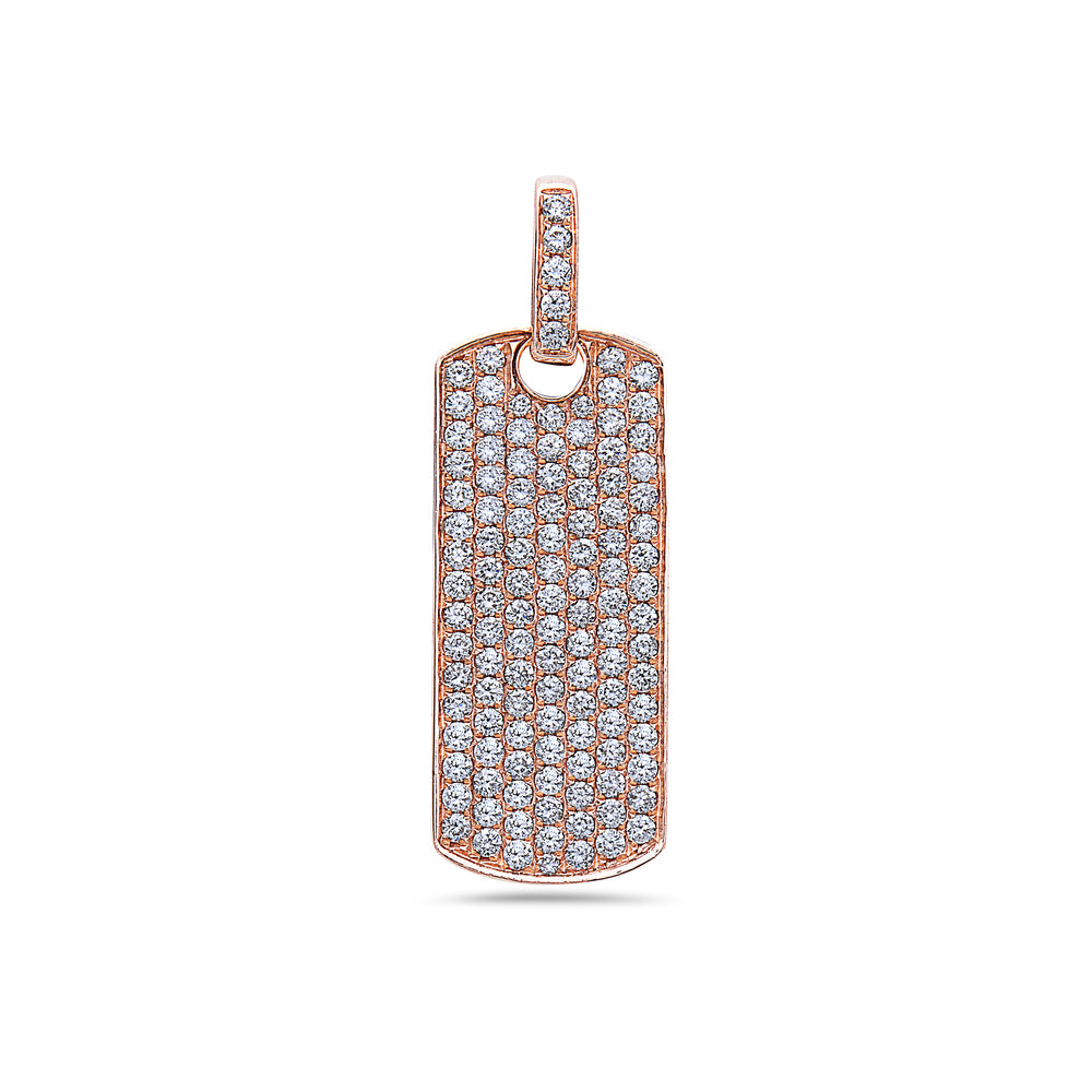 14K Rose Gold Dog Tag Pendant with 1.50 CT Diamonds
