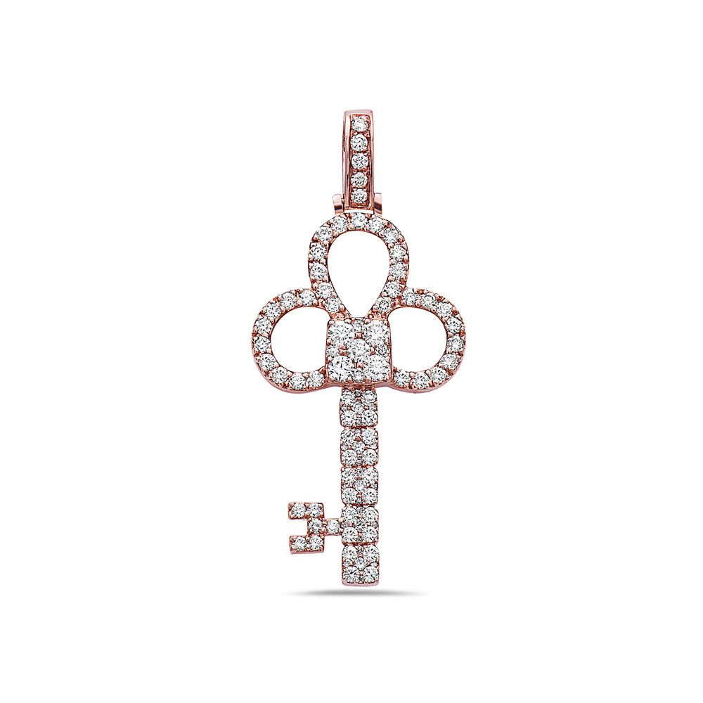 Men's 14K Rose Gold Key Pendant with 1.85 CT Diamonds
