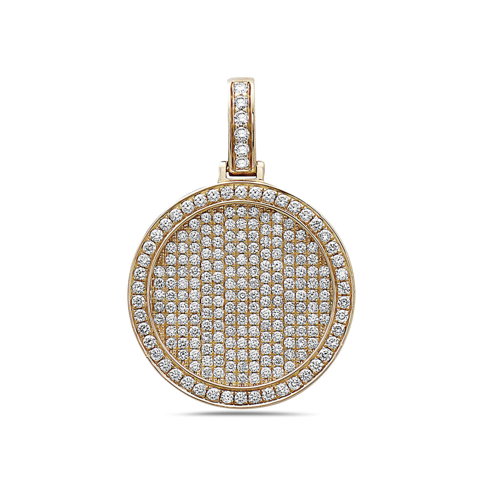 Men's 14K Yellow Gold Circle Pendant with 3.30 CT Diamonds