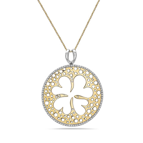 18K Yellow Gold Circle Clover Women's Pendant with 0.74CT Diamonds