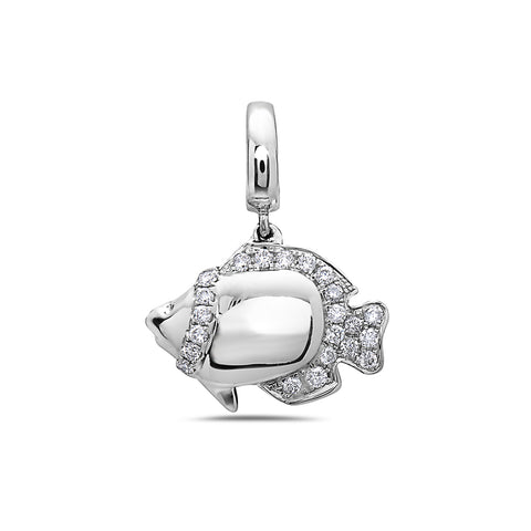 18K White Gold Fish Women's Pendant with 0.22CT Diamonds