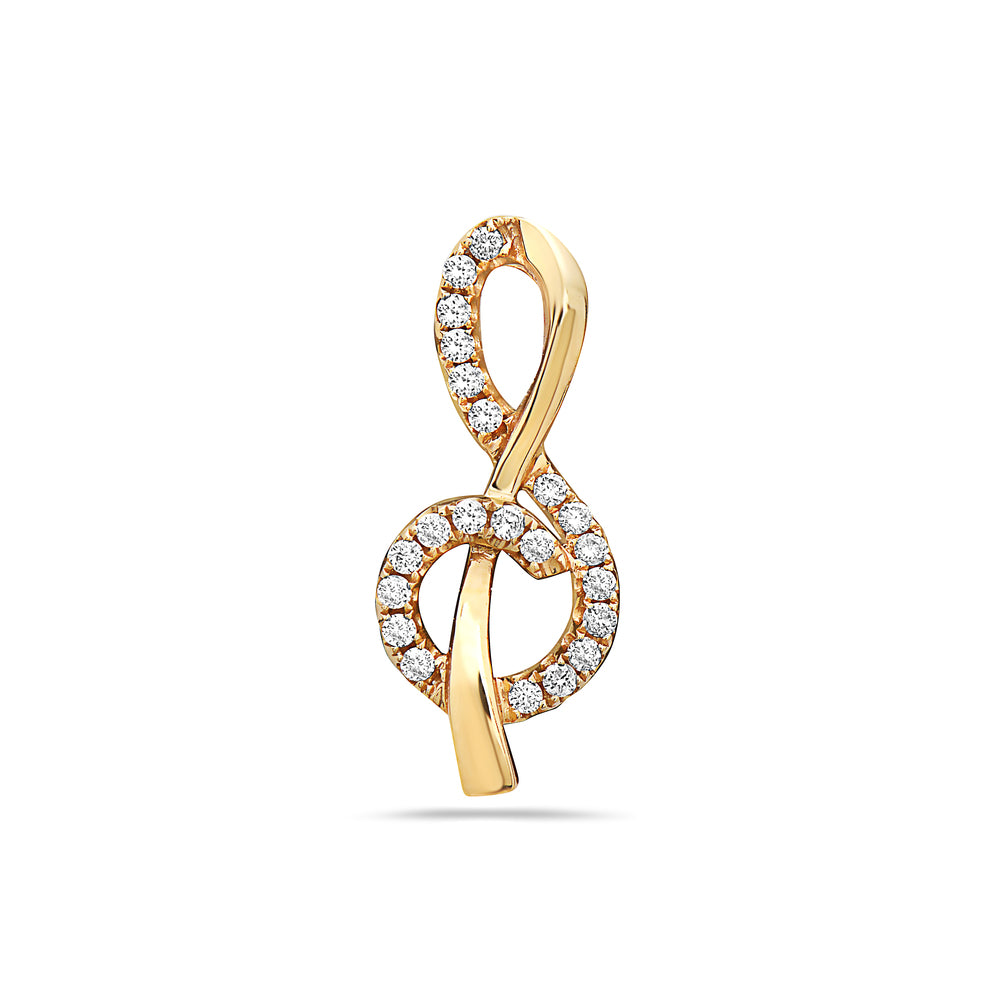 18K Yellow Gold Clef Women's Pendant with 0.20CT Diamonds