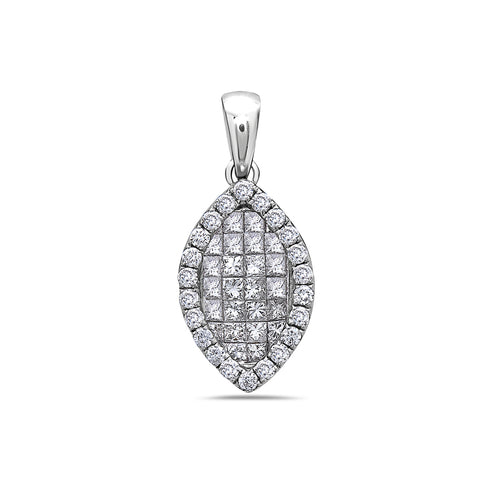 18K White Gold Leaf Women's Pendant with 1.10CT Diamonds