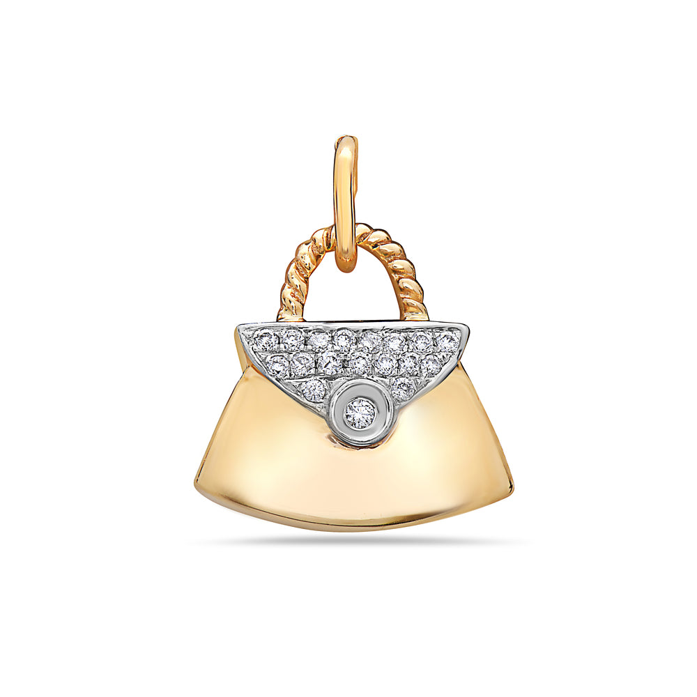 14K Yellow Gold Purse Bag Women's Pendant with 0.12CT Diamonds