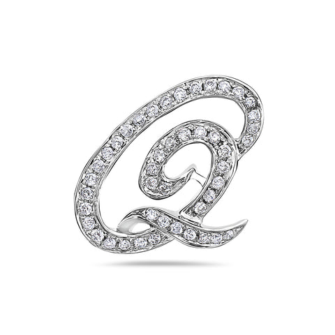 14K White Gold Letter Q Women's Pendant with 0.36CT Diamonds