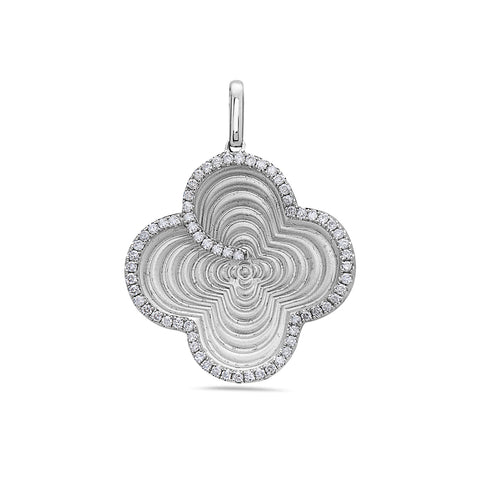 18K White Gold Clover Women's Pendant with 0.56CT Diamonds