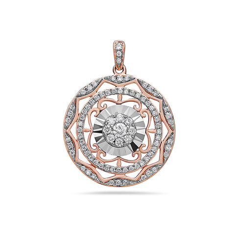 18K Mix of White and Rose Gold Circle Mandala Women's Pendant with 0.51CT Diamonds