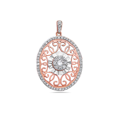 18K Rose Gold Oval Women's Pendant with 0.45CT Diamonds