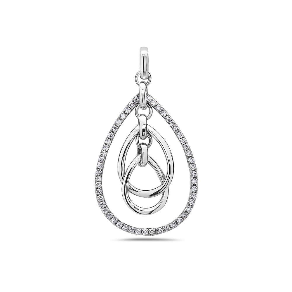 18K White Gold Floating Oval Chain Women's Pendant with 0.40CT Diamonds