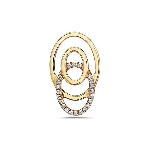 18K Yellow Gold Floating Ovals Women's Pendant with 0.22CT Diamonds