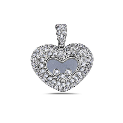 14K White Gold Heart Women's Pendant with 1.43CT Diamonds