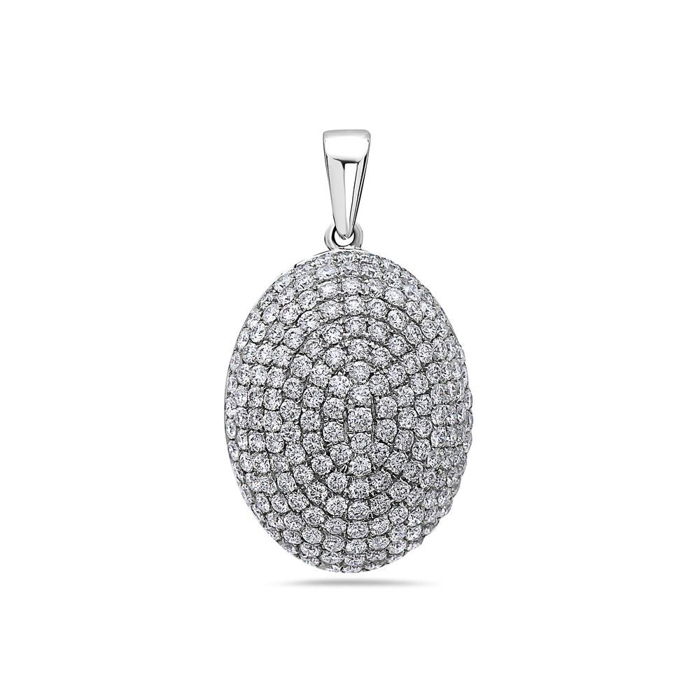 18K White Gold Oval Women's Pendant with 2.15CT Diamonds