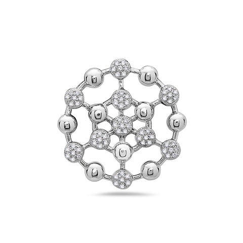 14K White Gold Atom Figure Women's Pendant with 0.35CT Diamonds