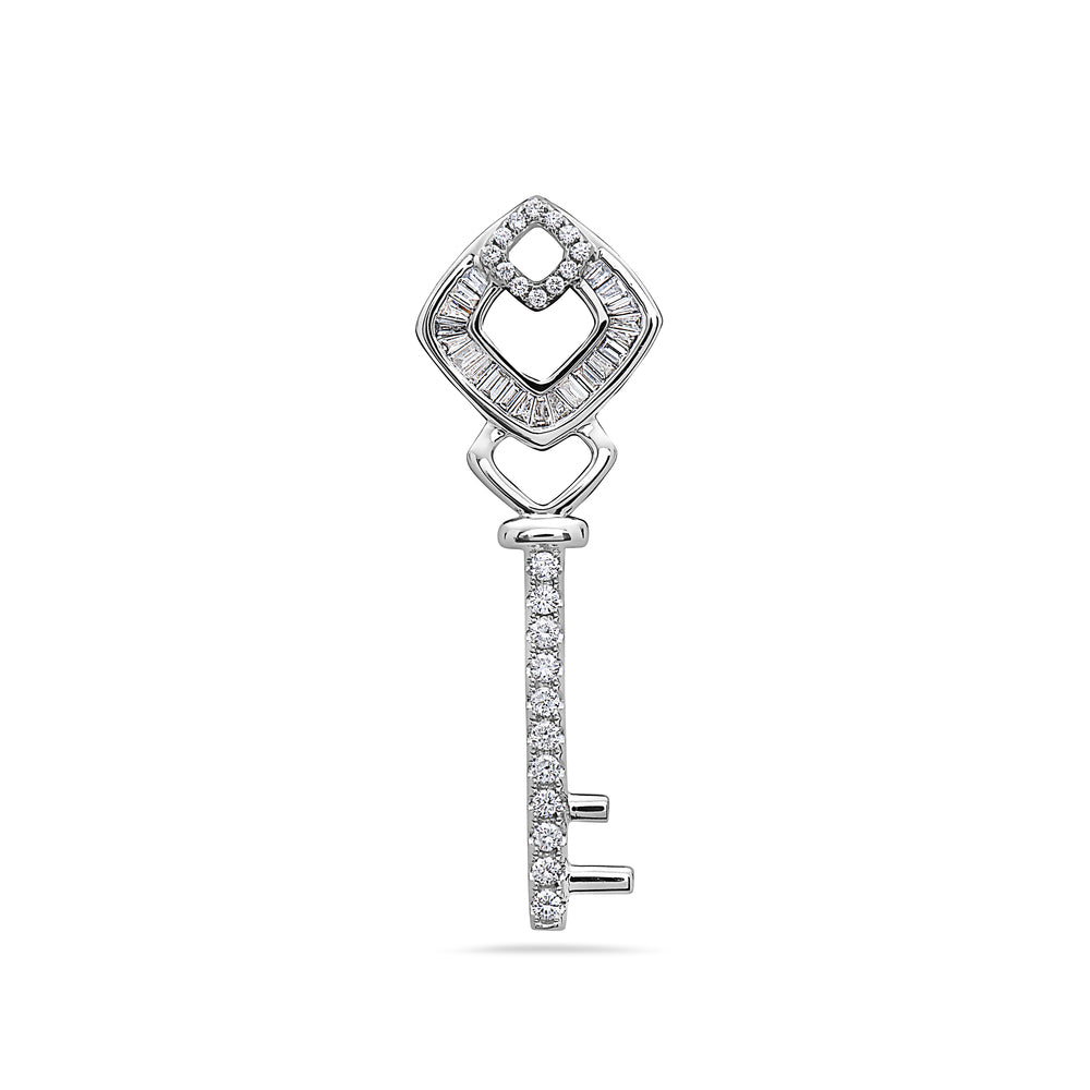 18K White Gold Key Women's Pendant with 0.56CT Diamonds