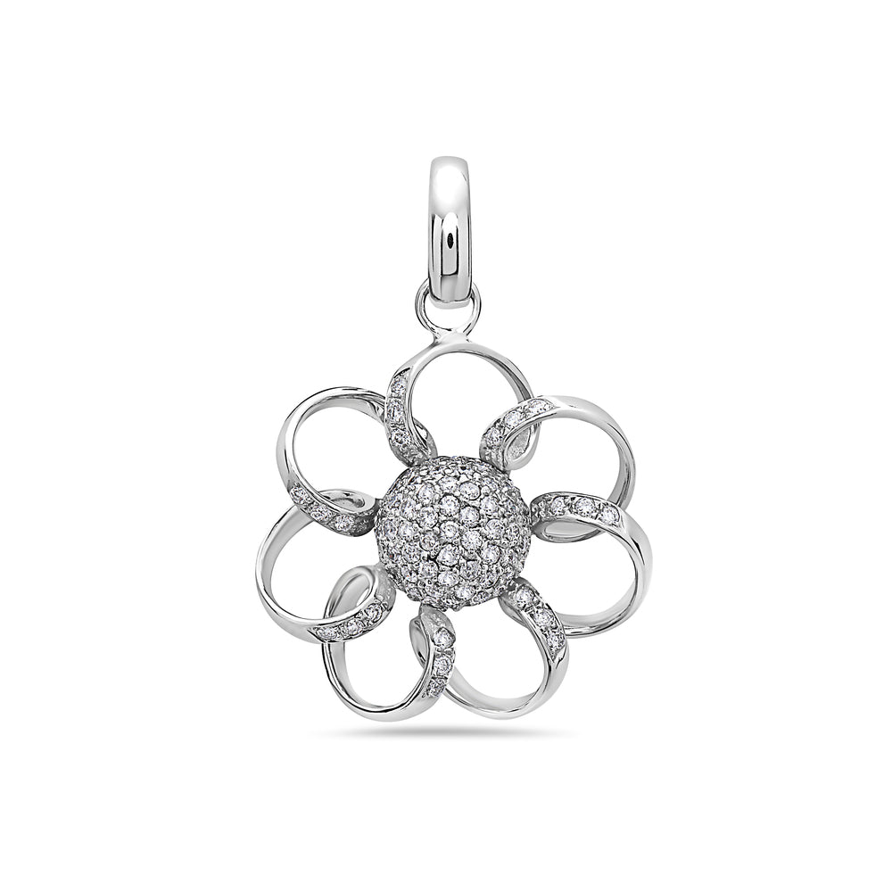 18K White Gold Flower Women's Pendant with 1.19CT Diamonds