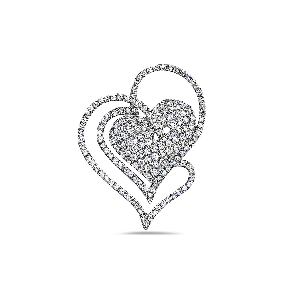 14K White Gold Intertwined Hearts Women's Pendant with 1.31CT Diamonds