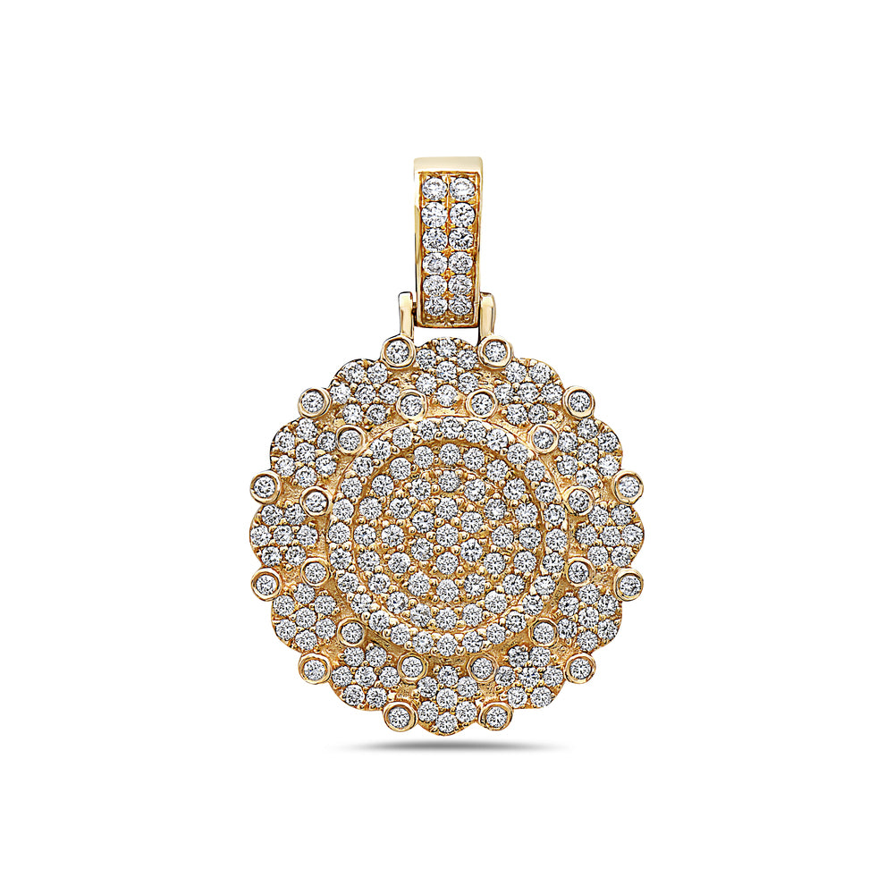 Men's 14K Yellow Gold Circle Pendant with 2.15 CT Diamonds