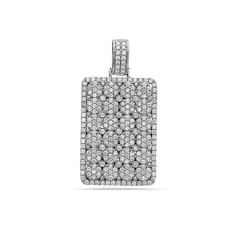 14K White Gold Rectangle Women's Pendant with 2.78CT Diamonds