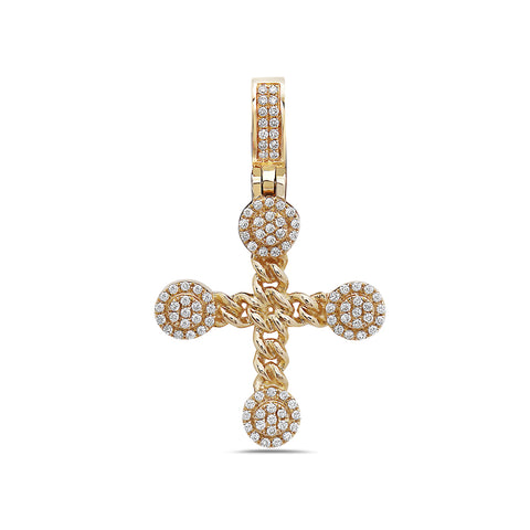 Unisex 14K Yellow Gold Cross Pendant with 0.37 CT Diamonds