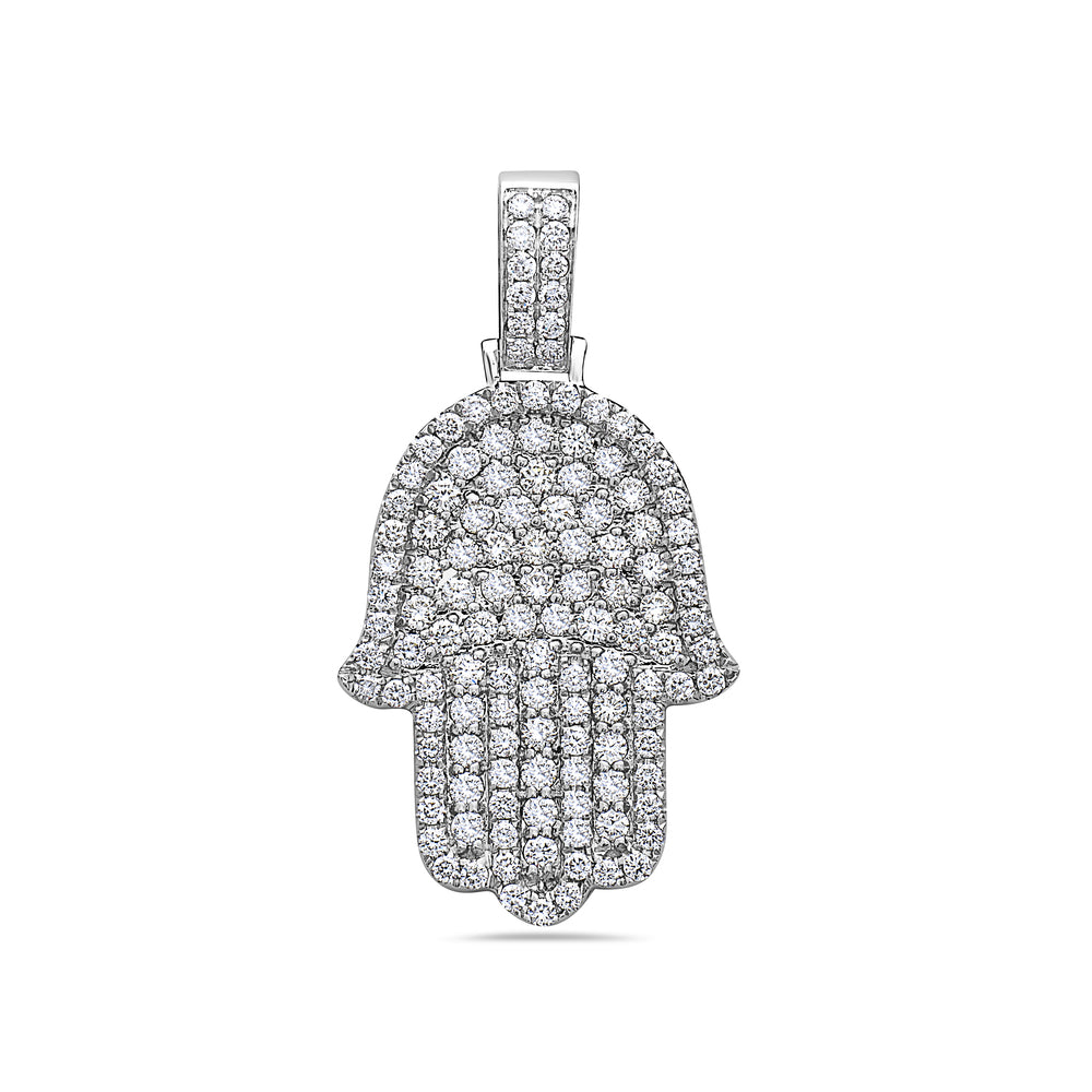 Men's 14K White Gold Hamsa Pendant with 2.72 CT Diamonds