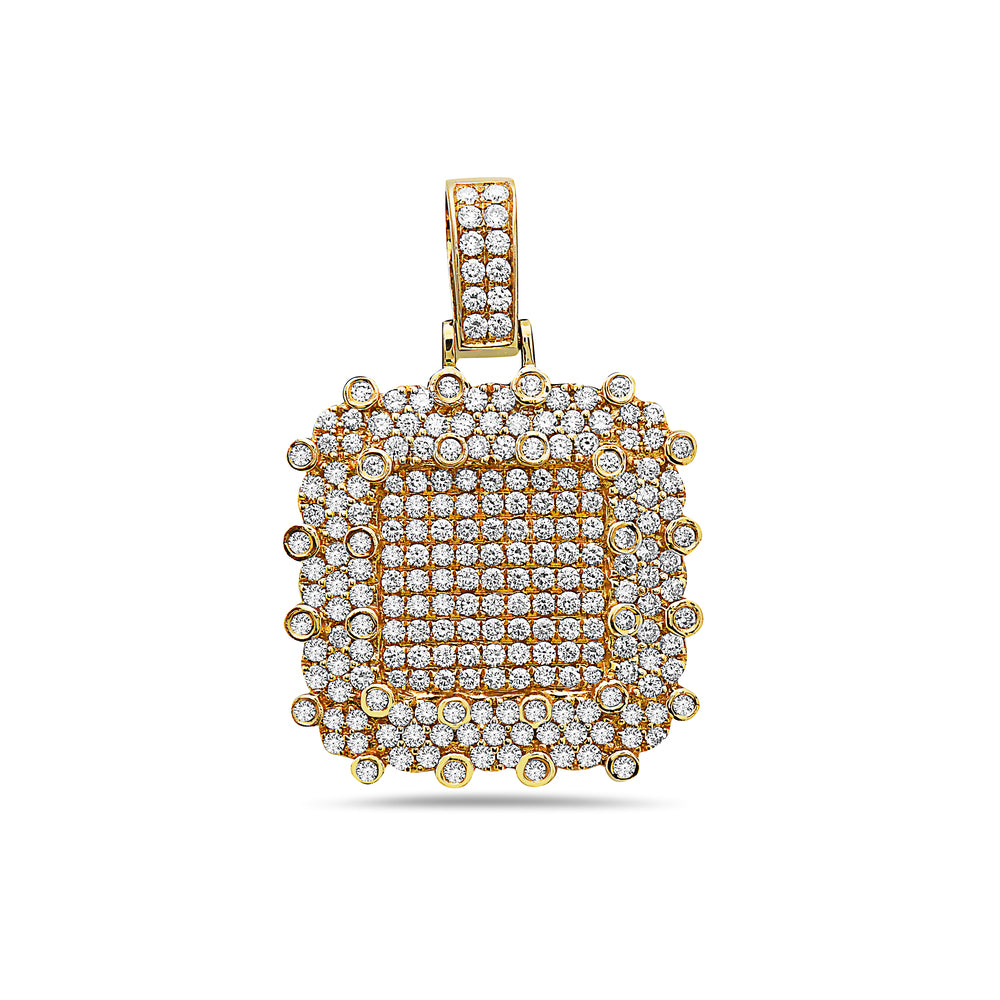 14K Yellow Gold Double Square Women's Pendant with 3.00CT Diamonds