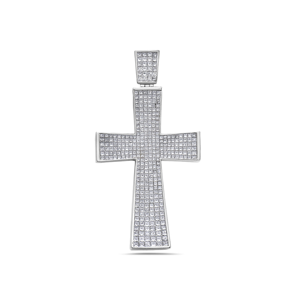 14K White Gold Cross Pendant with 9.00 CT Diamonds