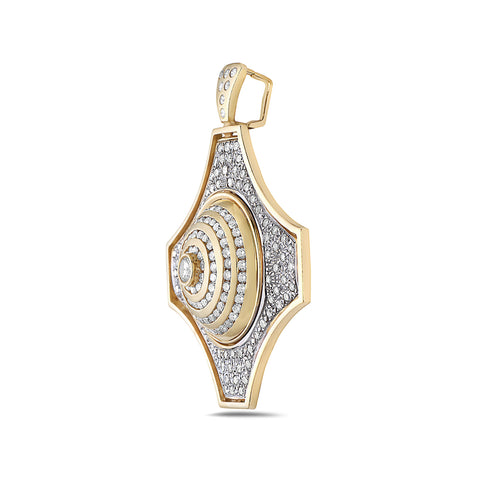 Men's 14K Yellow Gold Native Pendant with 5.00 CT Diamonds
