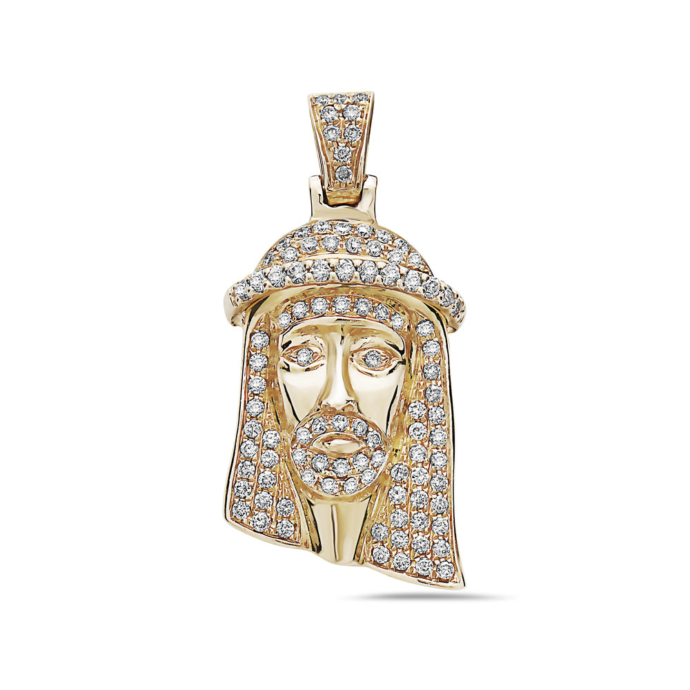 Men's 14K Yellow Gold Jesus Head Pendant with 1.15 CT Diamonds