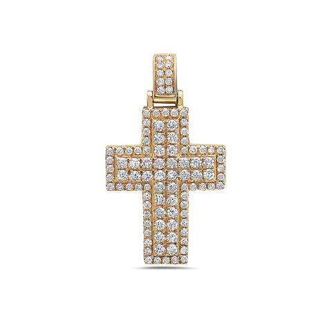 Unisex 14K Yellow Gold Cross Pendant with 1.38 CT Diamonds