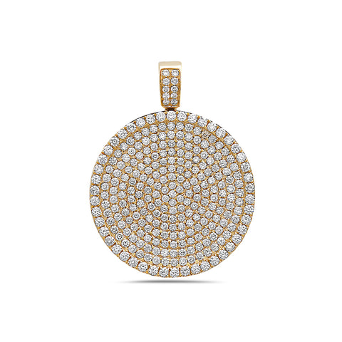 Men's 14K Yellow Gold Circle Pendant with 4.45 CT Diamonds