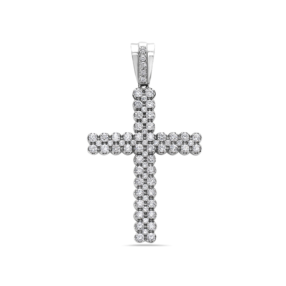 14K White Gold Cross Pendant with 5.18 CT Diamonds