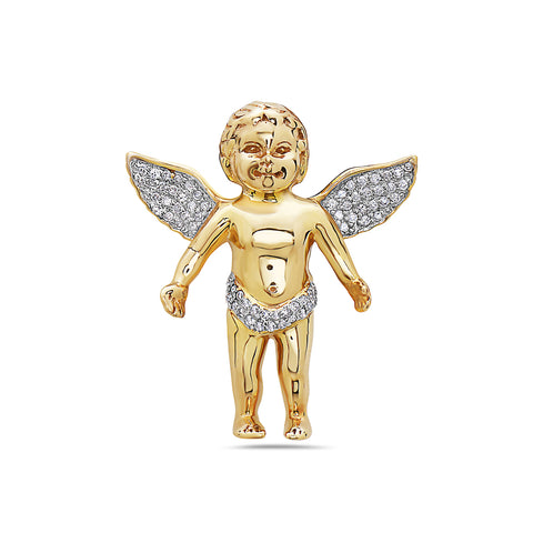 14K Yellow Gold Angel Women's Pendant with 0.90CT Diamonds