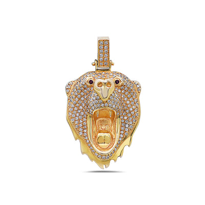 14K Yellow Gold Bear Head Women's Pendant with 1.10CT Diamonds