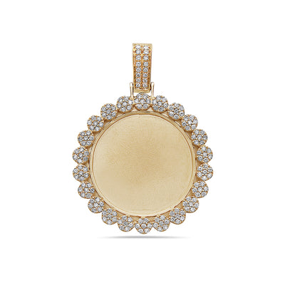 Men's 14K Yellow Gold Blank Bezel Pendant with 1.76 CT Diamonds