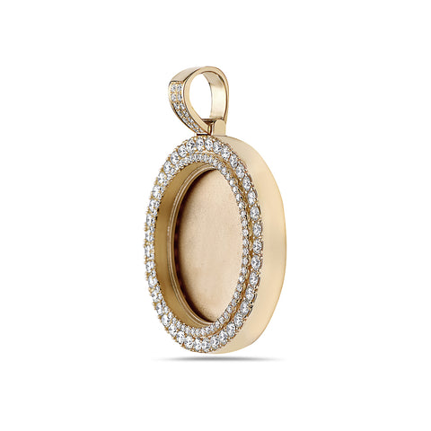 Unisex 14K Yellow Gold Blank Bezel Pendant with 3.70 CT Diamonds