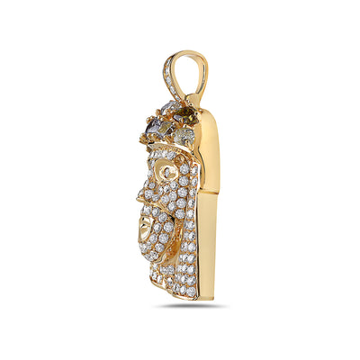 14K Yellow Gold Jesus's Head Women's Pendant with 3.24CT Diamonds