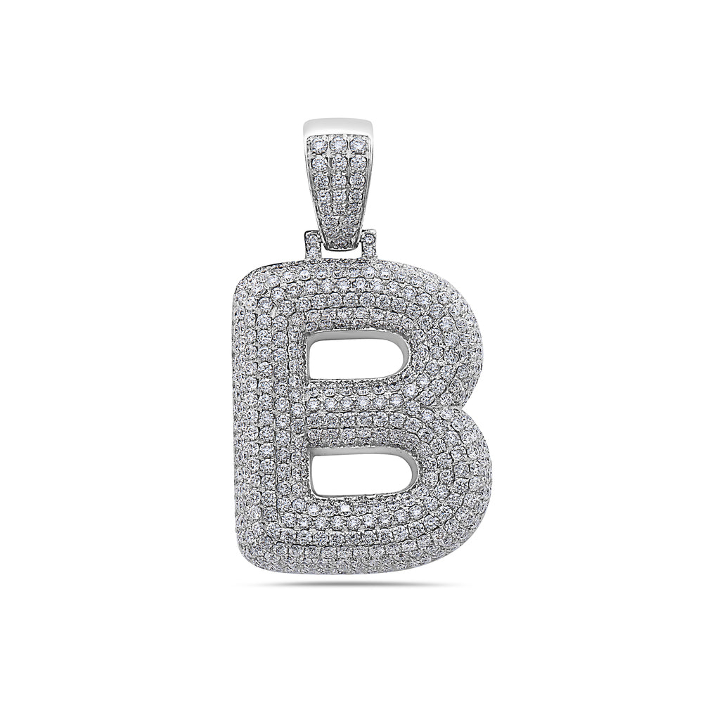 Men's 14K White Gold 'B' Pendant with 7.78 CT Diamonds