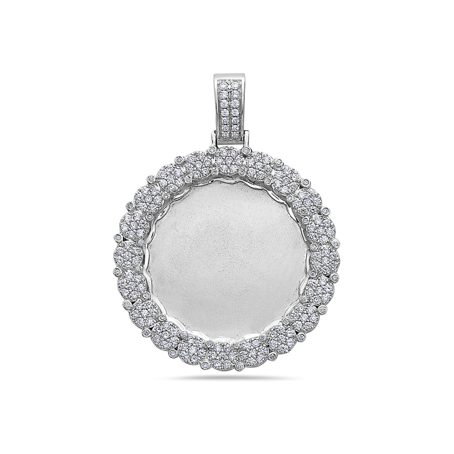 Men's 14K White Gold Blank Bezel Pendant with 2.23 CT Diamonds