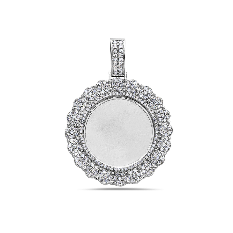 Men's 14K White Gold Blank Bezel Pendant with 2.45 CT Diamonds