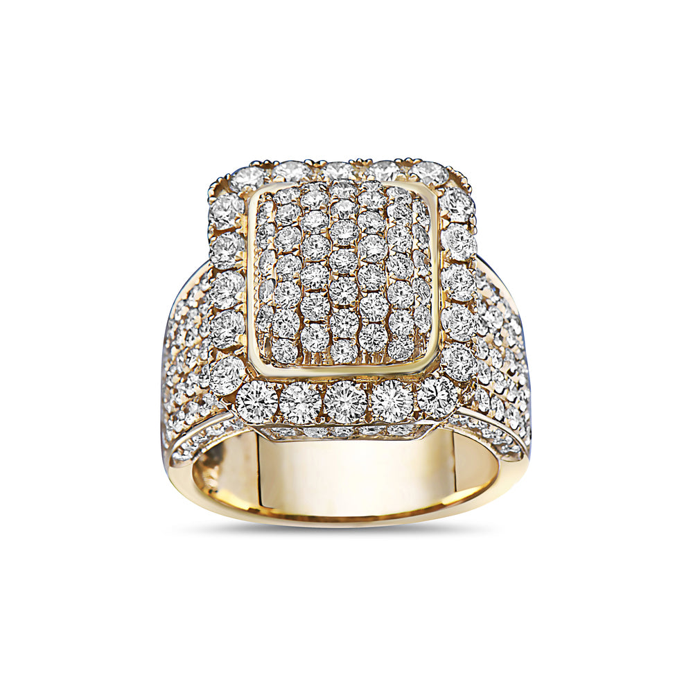 Men's 14K Yellow Gold Ring with 5.40 CT Diamonds