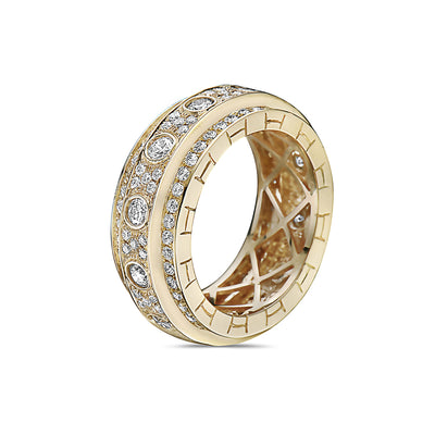 Men's 14K Yellow Gold Band with 3.32 CT Diamonds