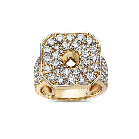 Men's 14K Yellow Gold Ring with 3.83 CT Diamonds
