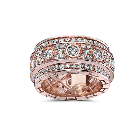 Men's 14K Rose Gold Band with 4.72 CT Diamonds