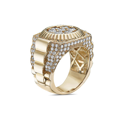 Men's 14K Yellow Gold Ring with 3.53 CT Diamonds